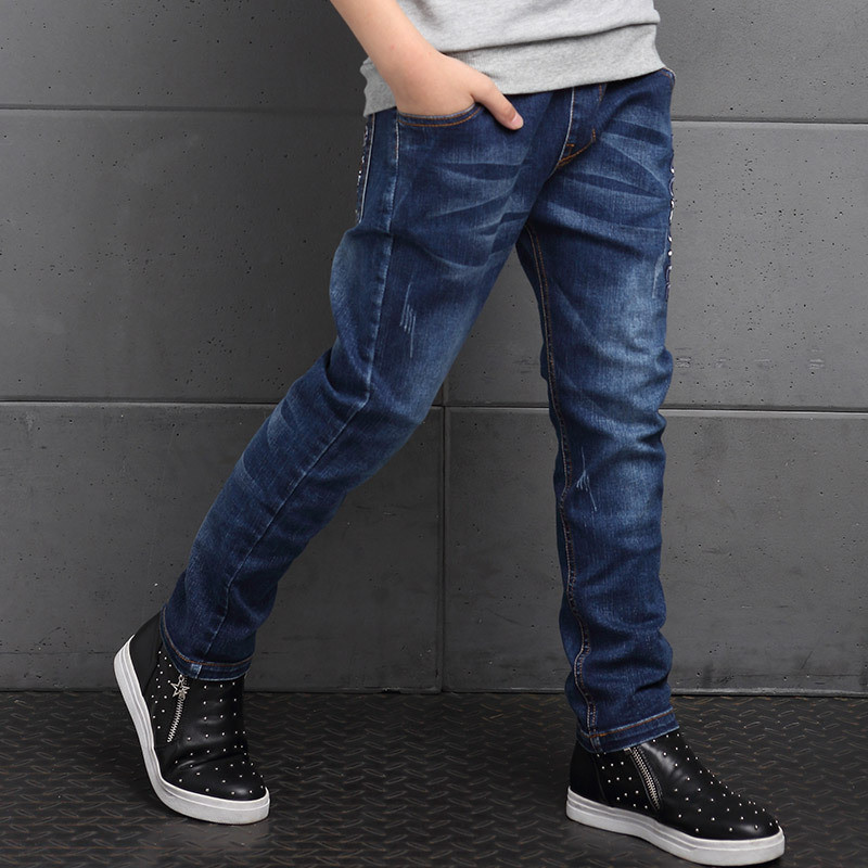 Boys Denim Pants Jeans Clothing Regular-Trousers Teen Child Casual Korea Blue Spring
