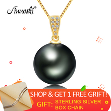 AINUOSHI 18K Solid Gold Real Diamond Black Pearl Pendant 10-11mm Natural Tahitian Pearl Women Pendant with Silver Necklace(Gift) цена и фото