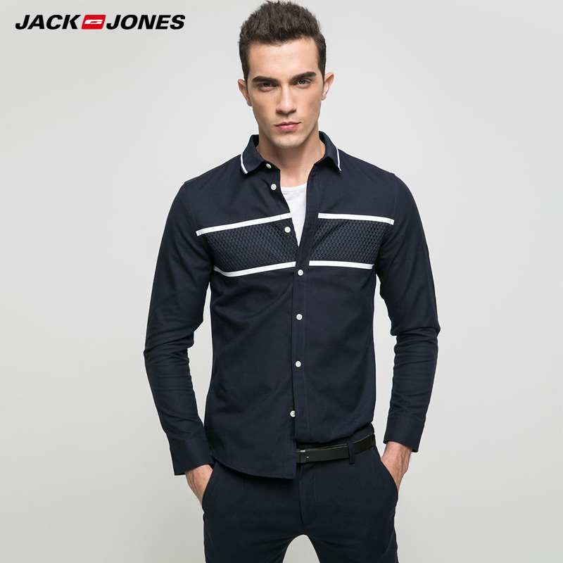 JACK   JONES marca 2018 nuevo más joven casual 100% algodón turn-down  collar patchwork Camisas manga larga de los hombres 217105505 12579fe08bd88