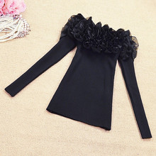 womens jumpers 2018 spring autumn korean fashion cute sweater long sleeve top ruffles off shoulder knitted sweater pull femme