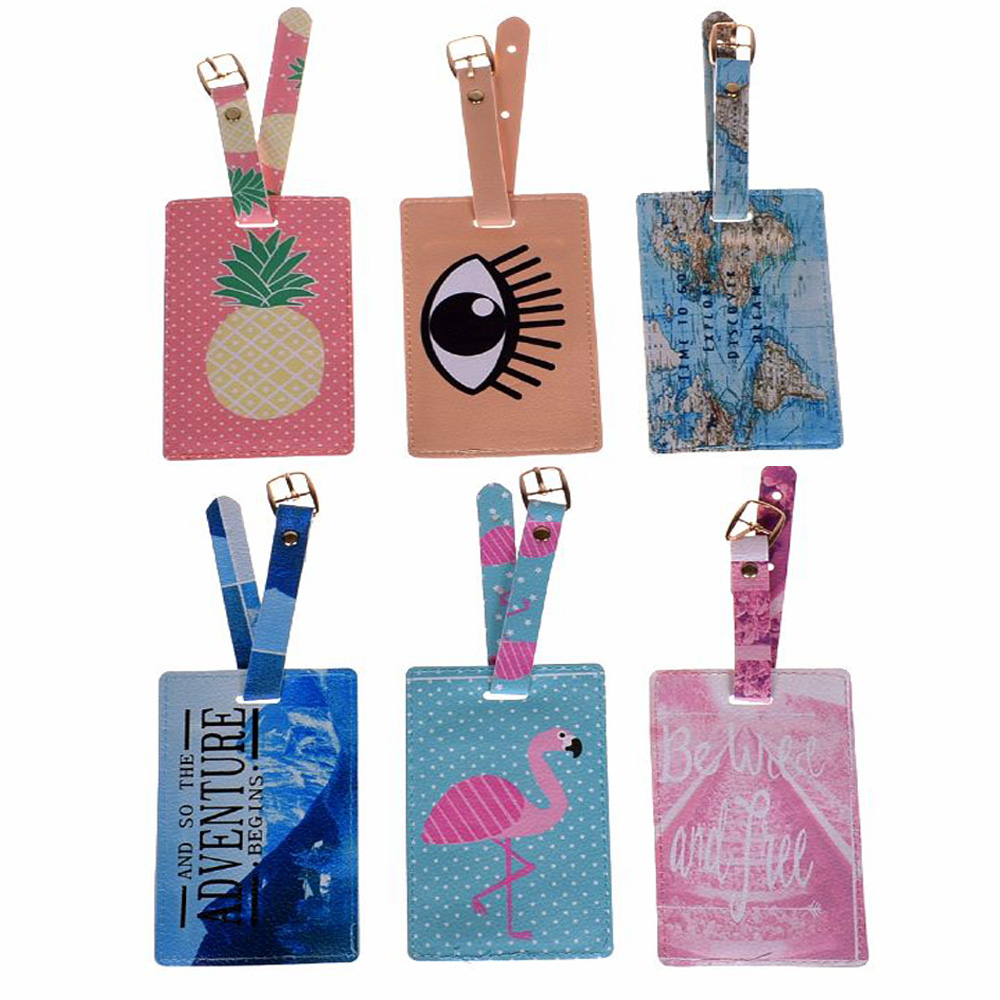 Cartoon Animal Flamingo Luggage Tag Travel Accessories PU Leather Suitcase ID Address Holder Baggage Boarding Tag Portable Label