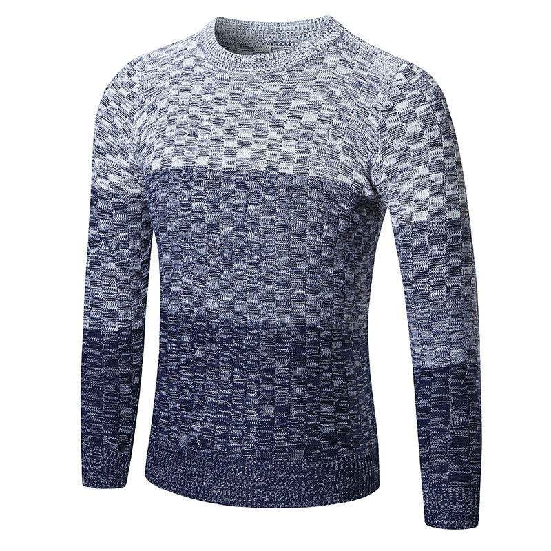 New Men Sweater Brand Mens O-Neck Gradient Color Sweater Fashion Mens Cotton Warm winter ...