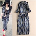 2016 New Denim Dress for Women Casual Vintage Flower Printed Long Sleeve Jeans Vestidos Woman Long Dress Tunic Roupas Dark blue
