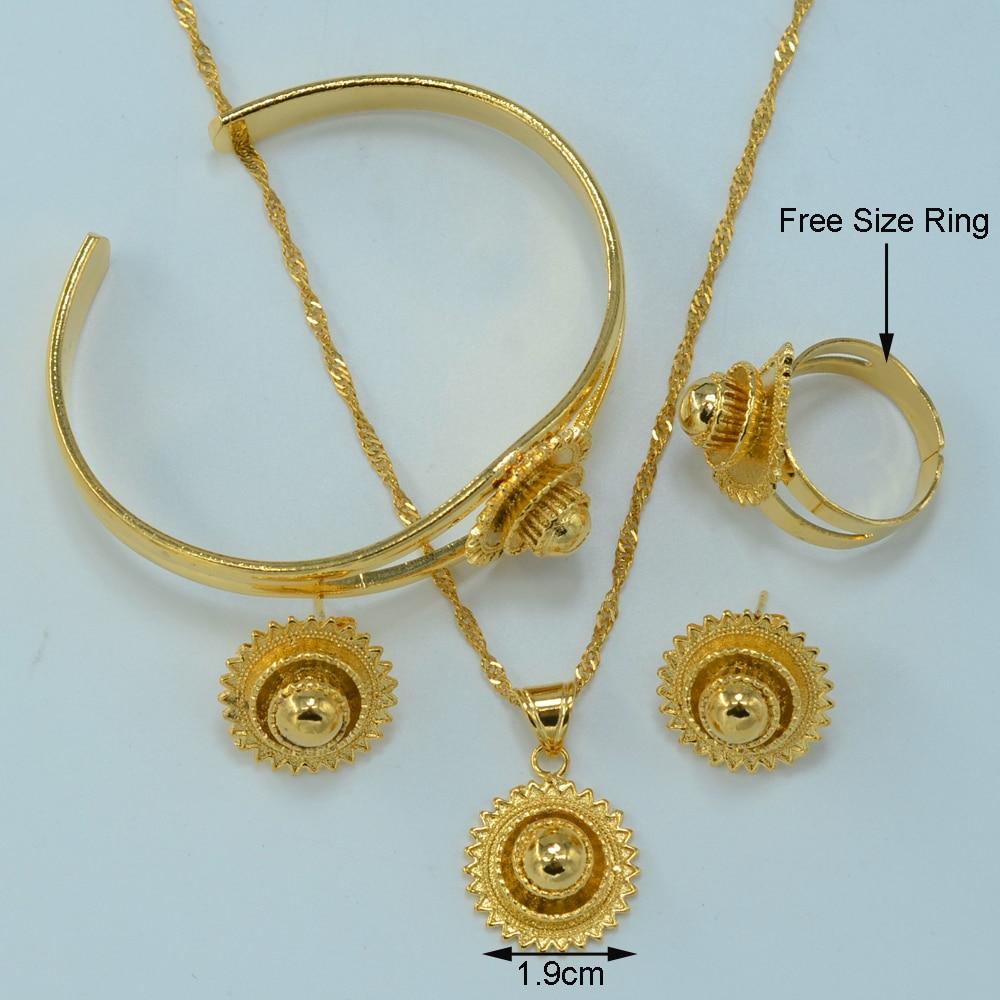 Anniyo Gold Color Ethiopian Jewelry set Bride Wedding Pendant ...