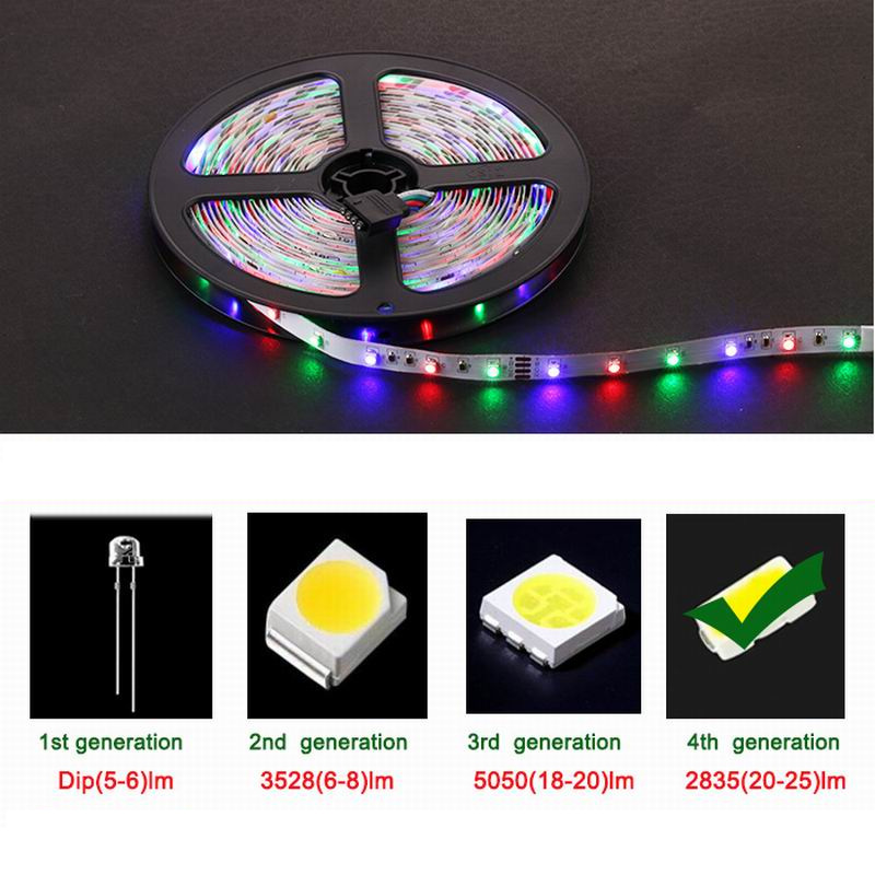 Chiclits RGB LED Strip Light 2835 SMD 5M 300LEDs IP20IP65 Flexible Light Tape With IR Remote Controller 12V 2A Power Adapter (10)