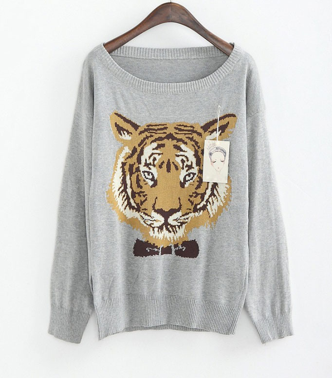 Europe Fashion design knitted Long sleeve pullover embroidery Tiger Sweater Women SG1005