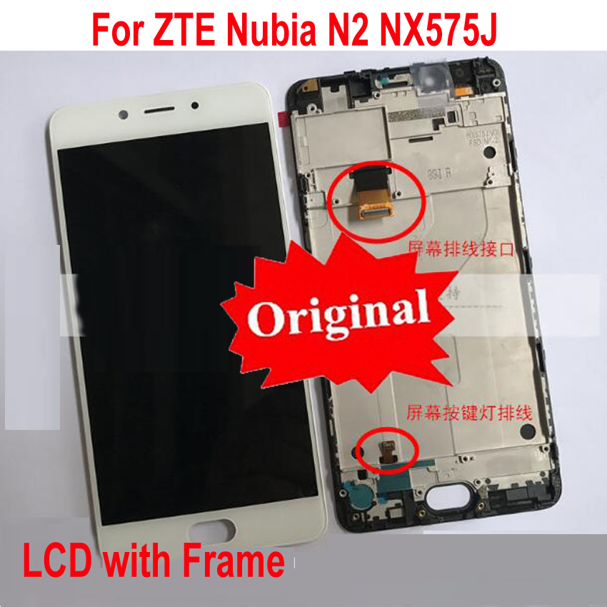 "Best Original Working LCD Display Touch Screen Digitizer Assembly Sensor + Frame For 5.5"" ZTE Nubia N2 NX575J MT6750 / M2 NX551J(China)"