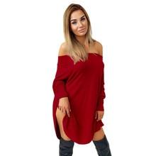 50c28e680 Vestido Sólida das Mulheres Fora Do Ombro Mangas Compridas vestidos de  Noite vestidos de Festa sexy Vestido vermelho Fino toque .