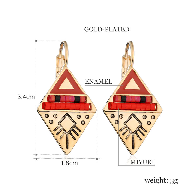 Top Quality Ethnic Vintage Jewelry Multi Color Enameling Rhinestone Beaded Double Triangle Drop Earrings Pendientes Women Charms in Drop Earrings from Jewelry Accessories