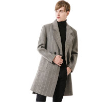 Autumn Jacket Trench Coat Men Light Grey Coat Clothing Fashion Mens Long Coat Top Quality Male Overcoat M 2XL