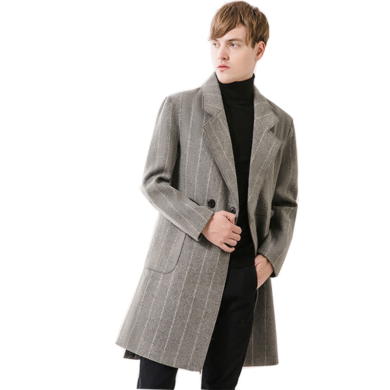 35874ca85baf0 Superior Chaqueta Masculino Largo Trencas Hombres Moda Abrigo Claro 2xl M  Calidad De Otoño Ropa Gris 7Aqw7T