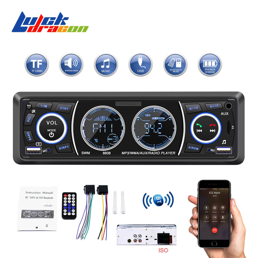 Car Radio 1 Din MP3 Player Stereo AutoRadio Multimedia Player Car Audio Bluetooth FM AUX Remote Control Handsfree Calls USB SD