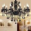 10 Arms Coffee Shop Antique Black Crystal Chandelier Lamp Dining Room Abajur E14 Led Indoor Light