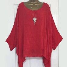 LEWVLIOD размера плюс женские топы и блузки, одноцветные свободные рубашки с рукавом летучая мышь, асимметричные элегантные женские топы с круглым вырезом, летние блузы