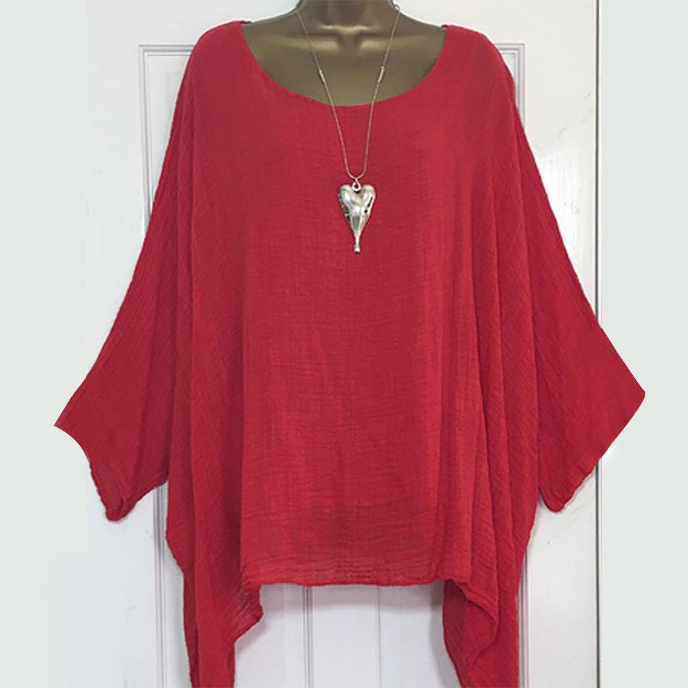 LEWVLIOD Plus Size Womens Tops And Blouses Solid Batwing Sleeve Loose Shirts Asymmetric O Neck Elegant Female Summer Blusas