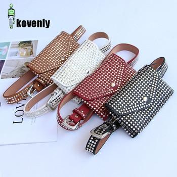 Fanny Pack Waist Bags Fashion Rivet Punk Women Belt Pack Vintage Mini Bags Pu Leather Simple Casual Belt Bag Hip Pocket