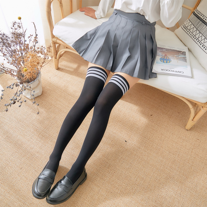 1 Pair Stripe Stockings Girls Korean Japanese Kawaii Lolita Socks Casual Thigh High Knee Socks Womens Long Socks