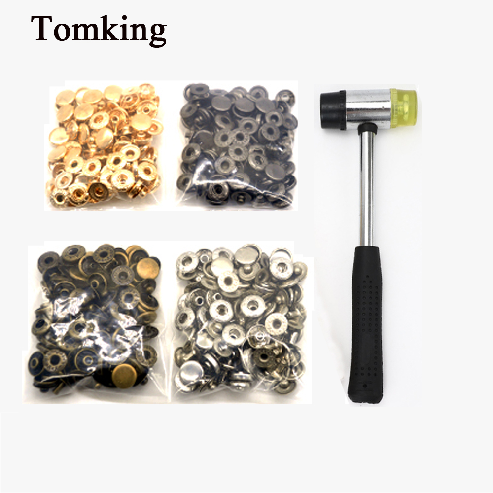 New each 30sets Snap Buttons+4 Tools Metal Press Studs Fasteners for Sewing Leathercraft Clothes Bags Bracelet Belt