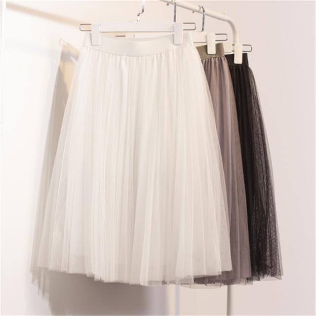 Novas Mulheres Chiffon Tule vestido de Sopro Saia Branca De cintura Alta Na Altura Do Joelho Chiffon Feminino Saias Tutu C730
