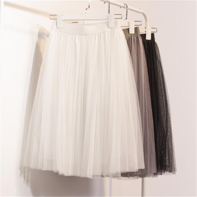 Nuevo Soplo de la Gasa de Las Mujeres Falda de Tul Blanco Faldas Del Tutú de cintura Alta Longitud de La Rodilla Gasa Femenina C730