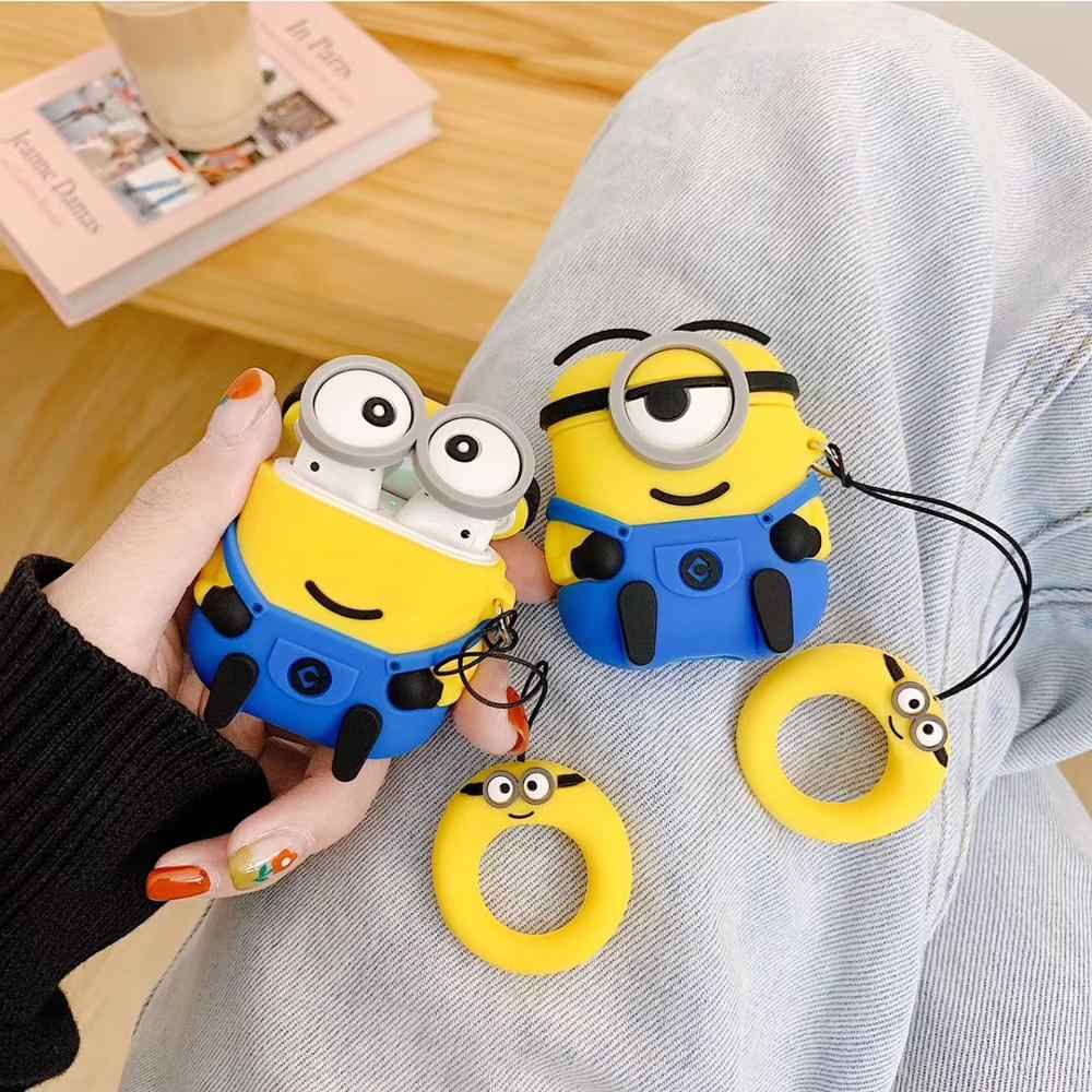 3D Cute Little Yellow Man Wireless Bluetooth Headset Silicone Case For Airpods Earphne Protective Case Shockproof soft Case