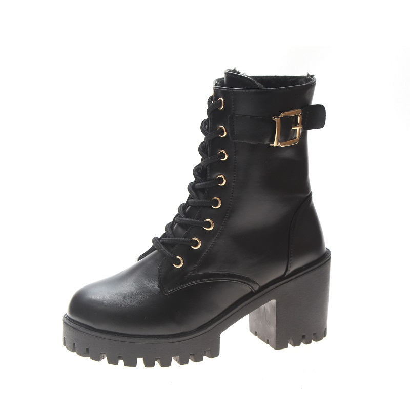 2019 autumn and winter new foreign trade Martin boots thick with lace high heel womens boots black ljj 02202019 autumn and winter new foreign trade Martin boots thick with lace high heel womens boots black ljj 0220