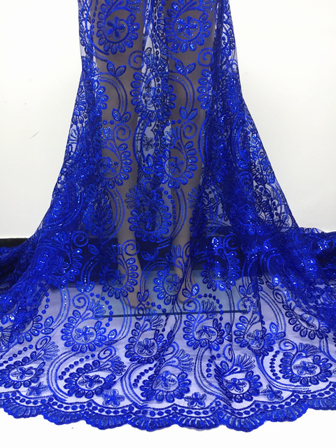 Classical Design Nigeria tulle mesh lace sequins lace fabric fabric royal blue africa lace fabric for wedding dress 2N66