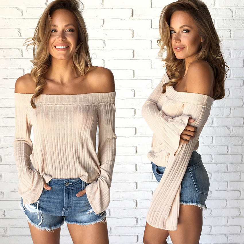 2019 sexy style slash neck slim basic flare sleeve woman sweater spring cute pullover solid casual knit thin sweater