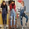 Rasgado Agujero Denim Jeans Monos Mamelucos Womens Jumpsuit Overol de Mezclilla Mujeres Delgadas Elegante Mono Atractivo 2016 AZ323
