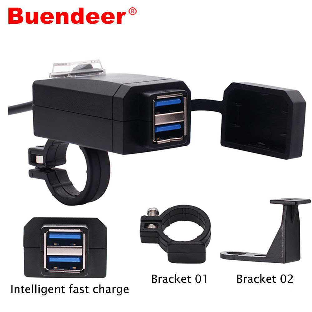 Buendeer Motorcycle Handlebar Charger QC3.0 Dual USB Cigarette lighter adapter 12V Power Supply Adapter for all phone charging
