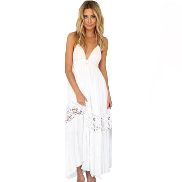 Vestidos largos en encaje blanco