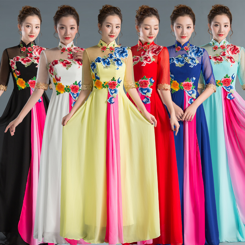 New dress female long chorus chorus performances dress performance hosting banquet evening dress female dress was thin