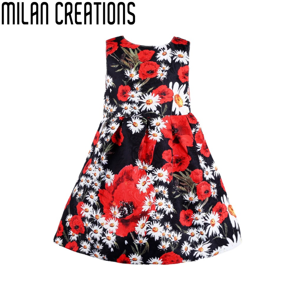 Milan Creations Toddler Girl Dresses Princess Costume 2016 Brand Kids Dress Girls Clothes Floral Print Children Dress Summer