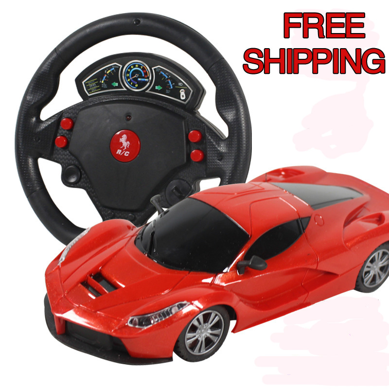 Mini <font><b>4</b></font> Channels steering wheel Electric Toy RC Car Gravity Sensing Remote Control Automobile Racing Car Toys High Speed Model