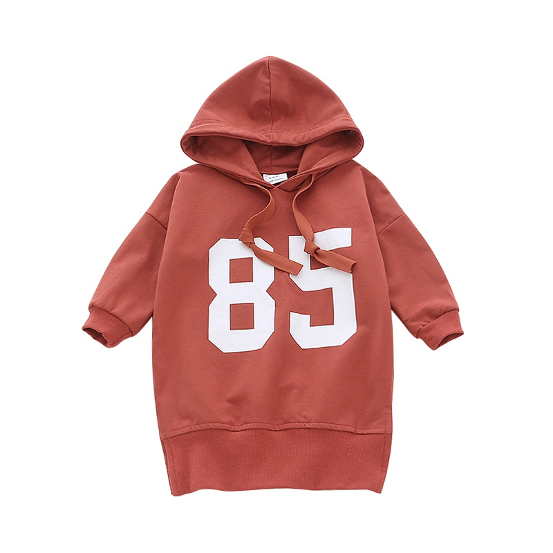 New 2018 Baby Dress Autumn Winter Long-Sleeved Sweater With Hood Casual Dress Letter Print Baby Dress Girl Children Clothes letter print long sleeve sweatshirt dress page 5