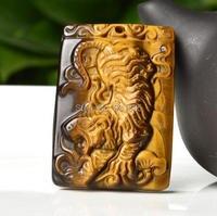 Bán sỉ 100% Tự Nhiên của Tiger Eye Đá Quý Tay Chạm Khắc Hổ Mặt Dây Chuyền + miễn phí Necklace Vàng Lucky Pendant Fine Jewelry