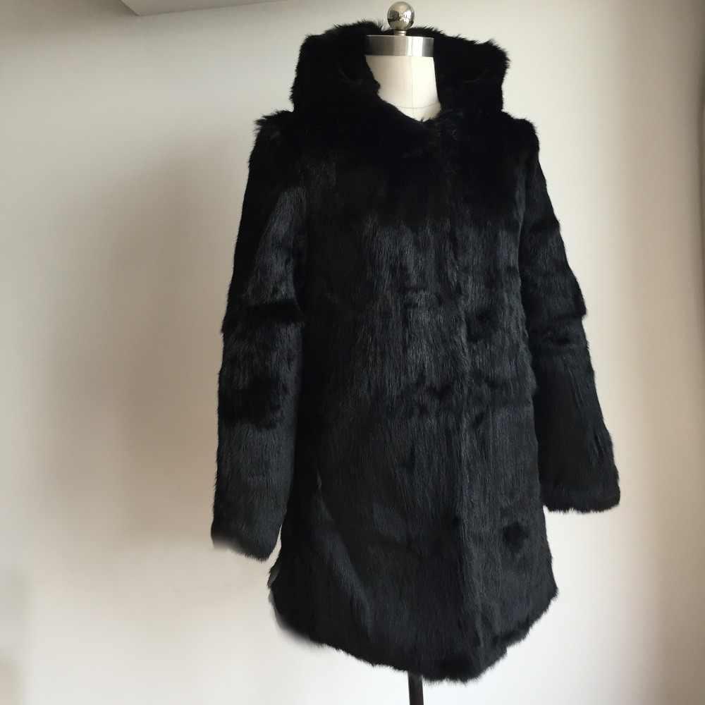 Düşük düşük satış gerçek tüm kürk tavşan kürk uzun ceket doğa tam Pelt tavşan kürk ceket kadın uzun ceket moda trend kürk KAH508