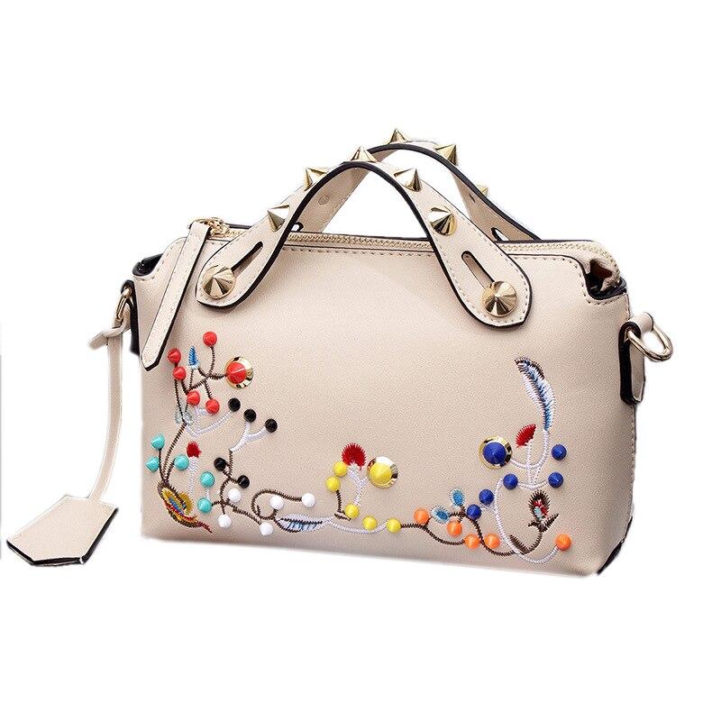 Women Luxury Genuine Leather Bag Lady Fashion Embroidered Rivet Shoulder Bag Female Little Bag Crossbody Bags
