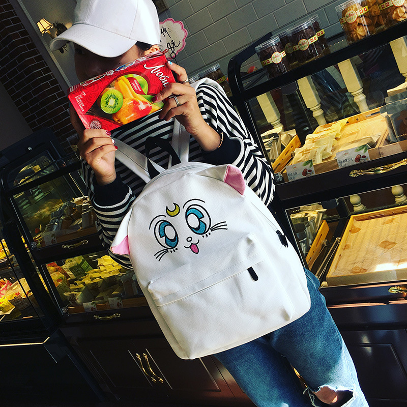 Anime Sailor Moon Cosplay Embroidered shoulder bag cute cartoon kitten kitten student canvas bag birthday gift