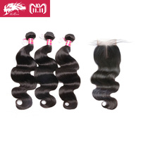 Ali Queen Hair Products 3Pcs Brazilian Body Wave Human Hair Bundles With Swiss Lace Closure Middle Part / Free Part Virgin Hair
