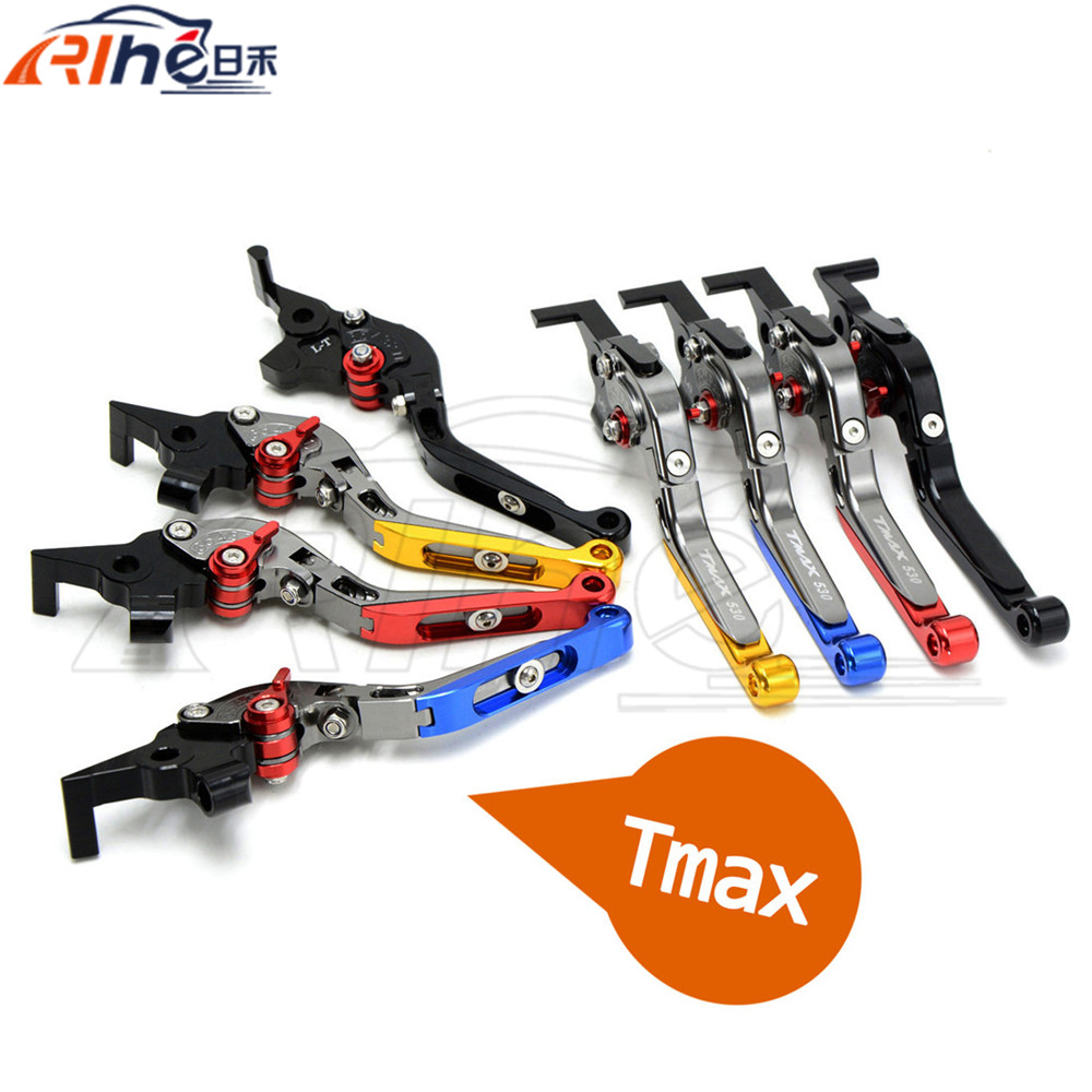 New Motorcycle Accessories CNC Folding&Extending Brake Clutch Levers Blue Color For YAMAHA TMAX 530 TAMX530 T-MAX530 T-MAX 530 for yamaha tmax tmax530 t max t max530 530 xp530 red blue new style blue logo motorcycle adjustable short brake clutch levers