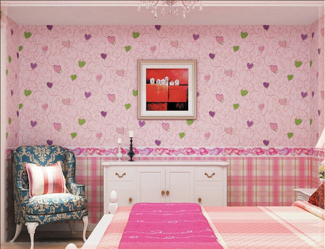 3 Colors, Modern kid wallpaper for girls room walls mural room child ...