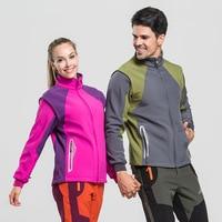 Softshell Jacket Men's Windstopper Waterproof Fleece Hiking Winter Jacket Women Sleeve Removable Outdoor Coats Trekking Camping