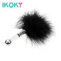 IKOKY-Palo de flirteo para clímax punto G con cola de plumas, Juguetes sexuales para mujeres, tapón Anal, Mini bola de acero, juegos para adultos