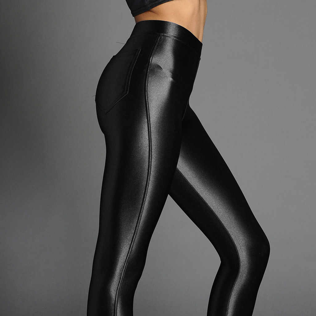 High Quality Spring Summer Women's Glossy High Waist Stretch Sports Leggings Yoga Athletic Pants Black Yoga Gym Trousers V10