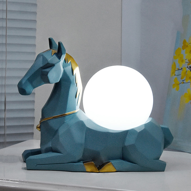 Modern Nordic Abstract Geometric Resin Horse Statue Desk Lamps E27 Led Animal Table Lamp For Bedside Bedroom Reading Night Light|LED Table Lamps| |  - title=