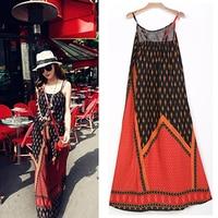 Bohemia Beach Long Maxi Dress Floral Printed Slip Sleeveless Ethnic Abstract Pattern Loose 2017 Beach Dresses