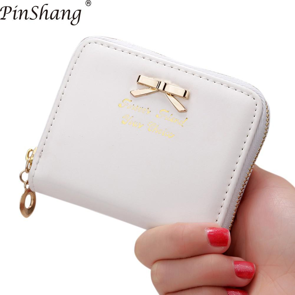 Pinshang Women Wallets Purses Handbag Clutch-Bag Zipper Simple Short-Style Bow ZK40 Bowknot-Decoration