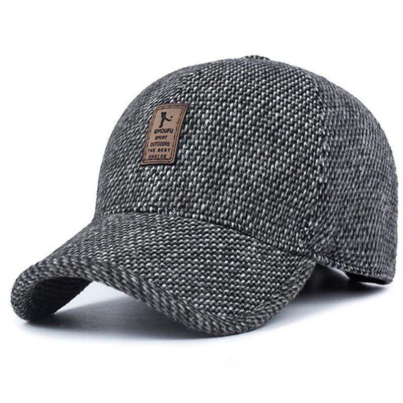 Gorra de béisbol de marca, gorro de invierno para papá, gorro cálido de algodón grueso con Cierre trasero, protección para la oreja, sombreros ajustados para hombre 2019