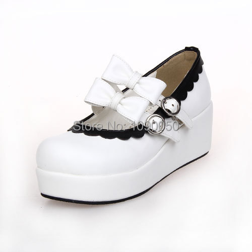 ФОТО Big size:34-44 New 2016 lolita bow princess brand Lace lovely princess shoes white sweet high heels fashion Cosplay girl's pumps